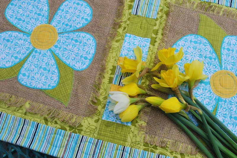 Table runner with daffodils