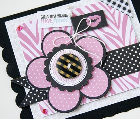 Gretchen McElveen_Shaped card_Girls just wanna have fun card close up