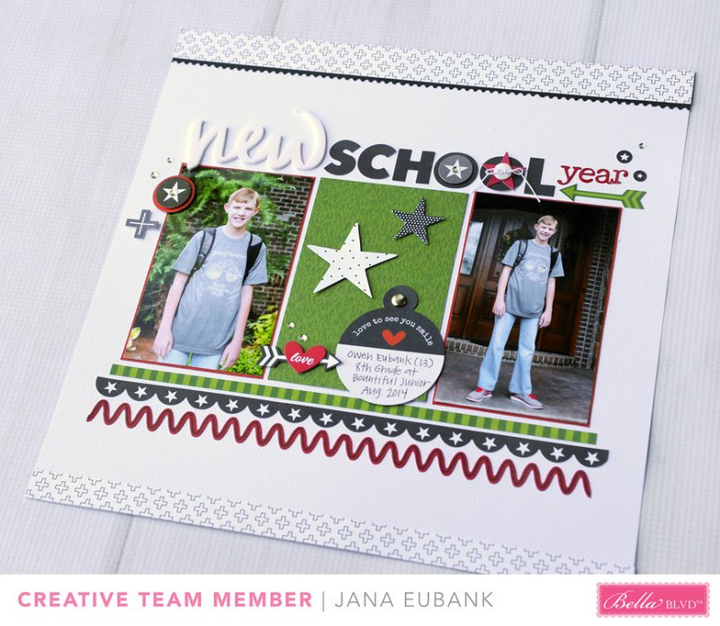 Jana Eubank Bella Blvd New School Year Scrapbook Page 5