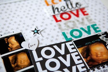 Susan weinroth - hello love layout - DETAIL