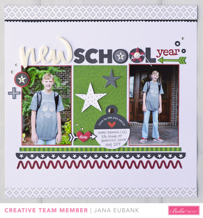 Jana Eubank Bella Blvd New School Year Scrapbook Page 1