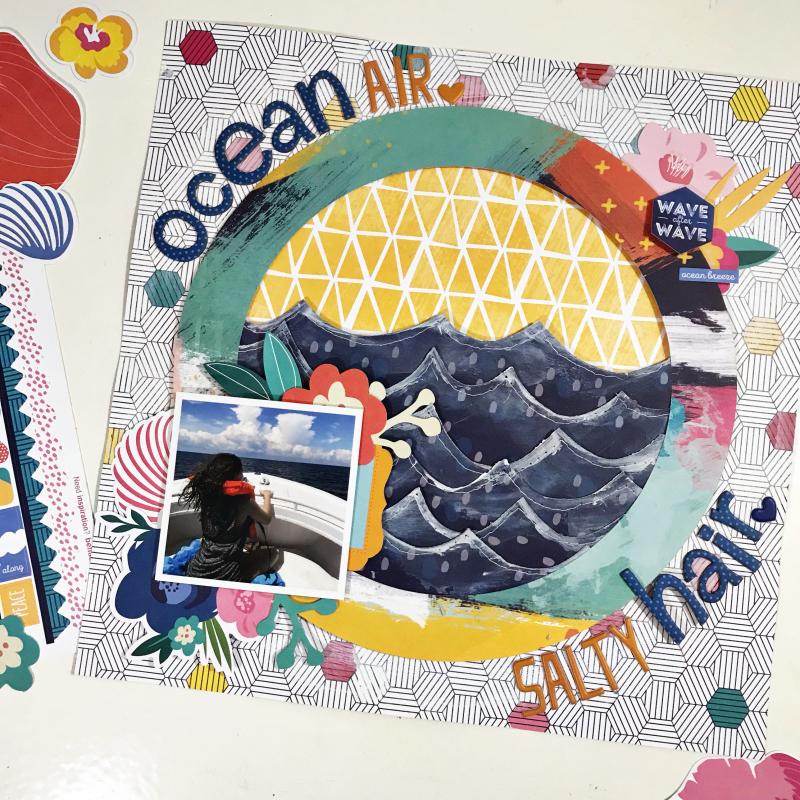 Ocean Hair Scrapbooking Layout by Heather Leopard
