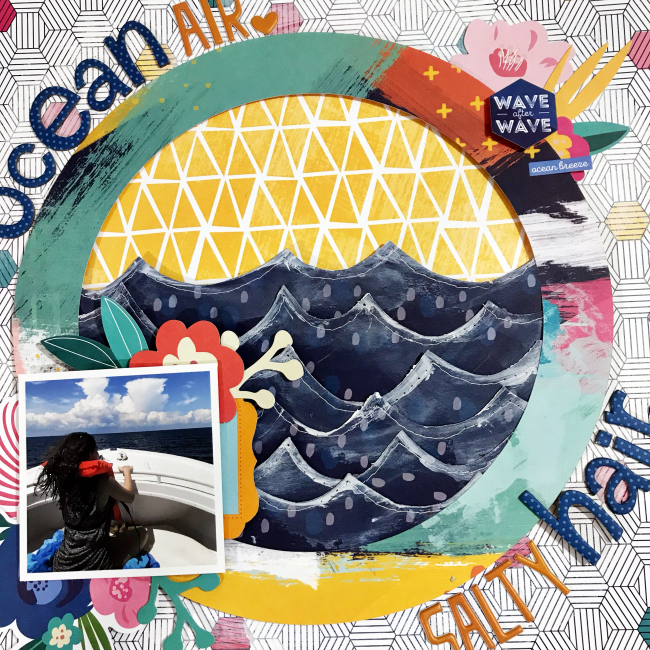 Ocean Hair Scrapbooking Layout by Heather Leopard title