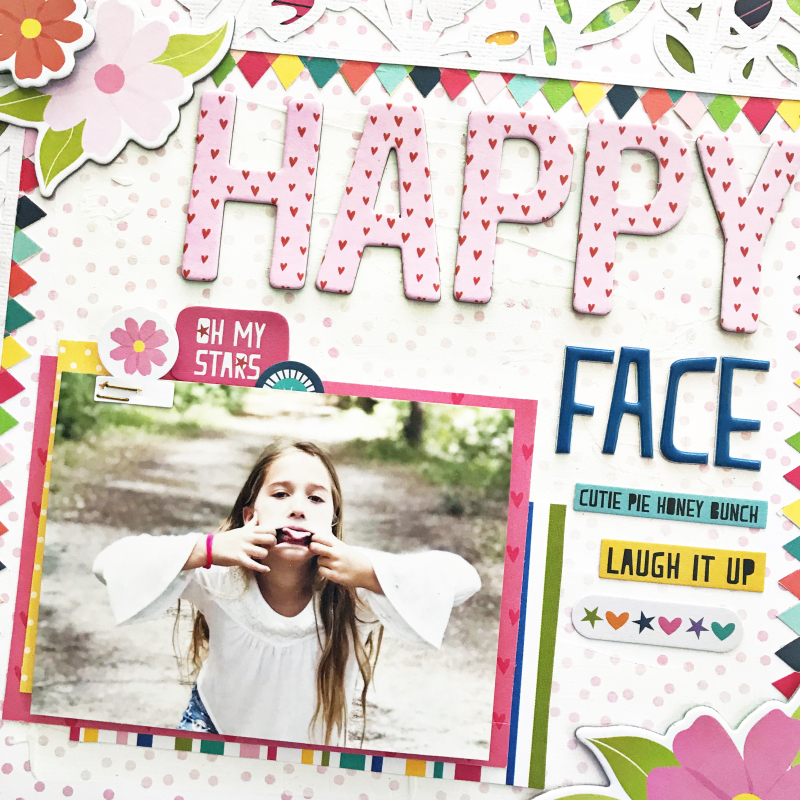 Happy Face Scrapbooking Layout by Heather Leopard_2