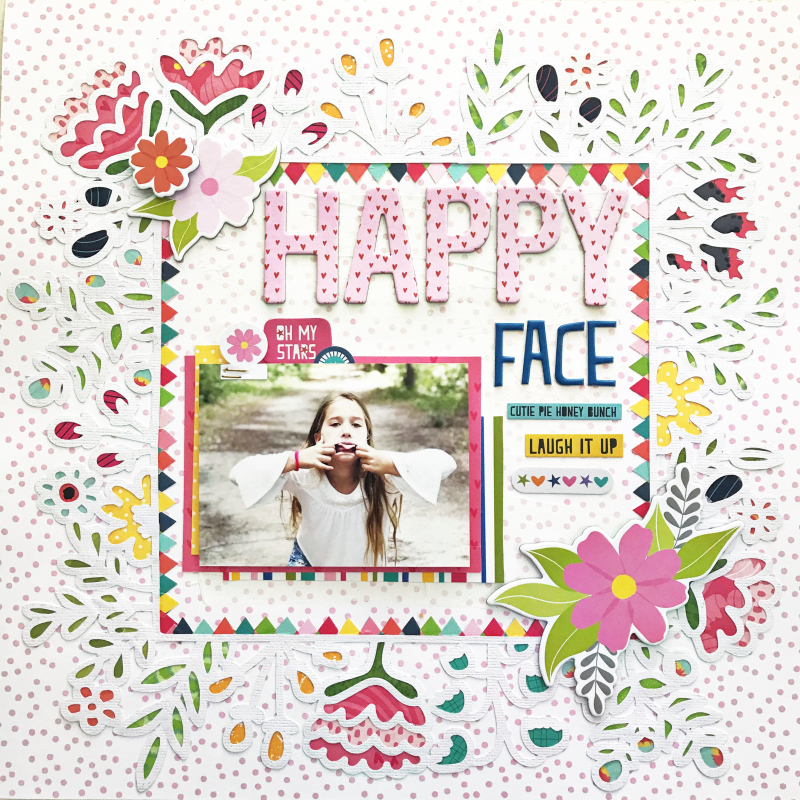 Happy Face Scrapbooking Layout by Heather Leopard_1