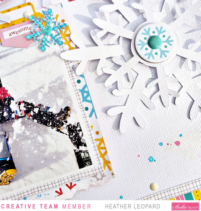 Snow scrapbooking layout Large Title Heather Leopard Bella Blvd 2