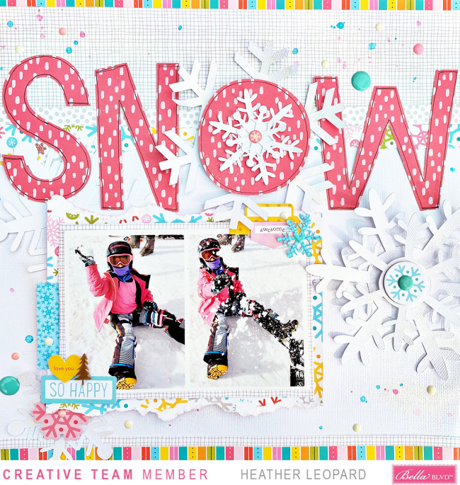 Snow scrapbooking layout Large Title Heather Leopard Bella Blvd 1