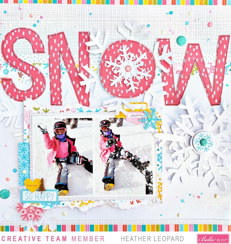 Snow scrapbooking layout Large Title Heather Leopard Bella Blvd 1