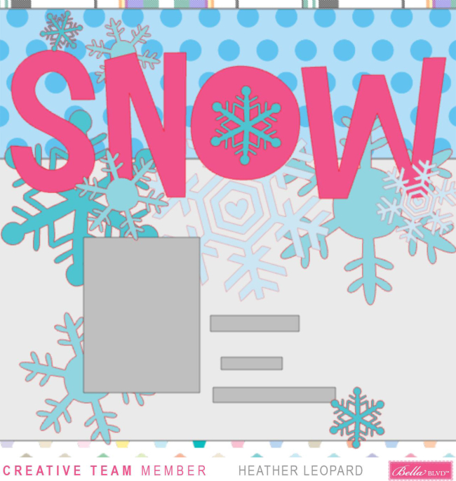 Snow scrapbooking layout Large Title Heather Leopard Bella Blvd 1a