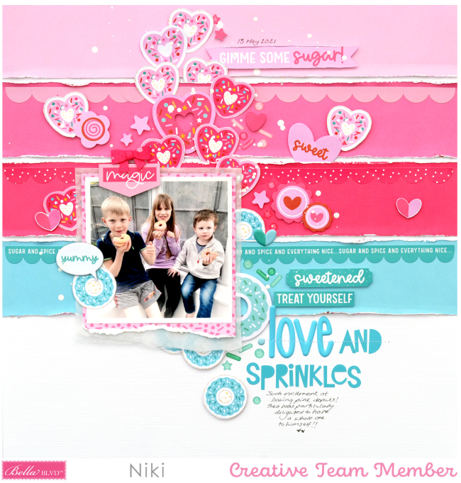 Love and Sprinkles Niki Rowland Bella Blvd My Candy Girl scrapbooking layouts square