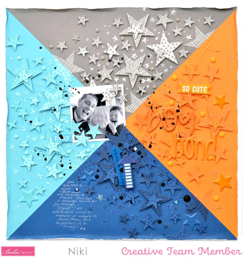 Boy Bond Niki Rowland Bella Blvd To the Moon Besties stars scrapbooking layouts square