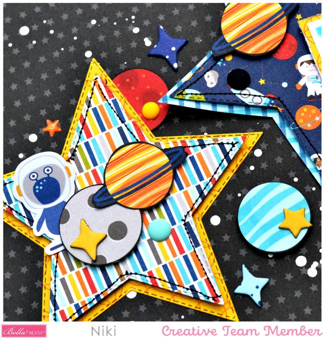 Explore Niki Rowland Bella Blvd To the Moon sketch challenge scrapbooking layouts