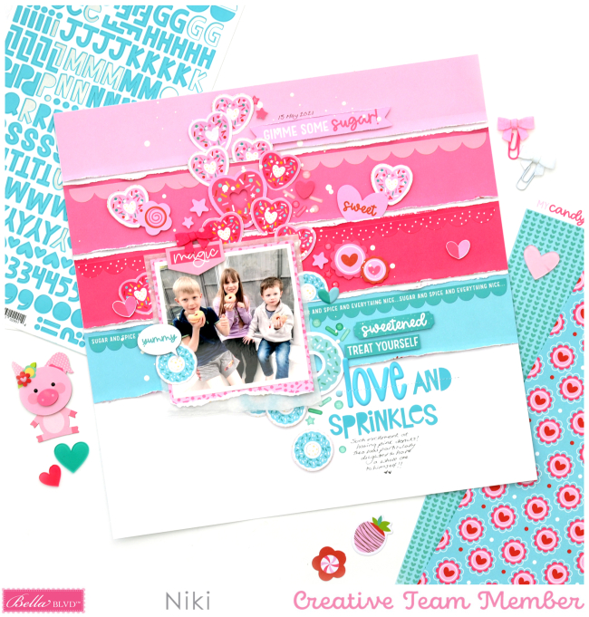 Love and Sprinkles Niki Rowland Bella Blvd My Candy Girl scrapbooking layouts set