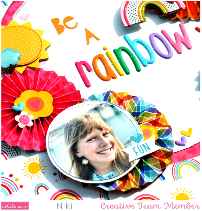 Be A Rainbow Bella Blvd You Are my Sunshine Niki Rowland Aria puffy alphabet Florence Scrapbooking layouts detail2