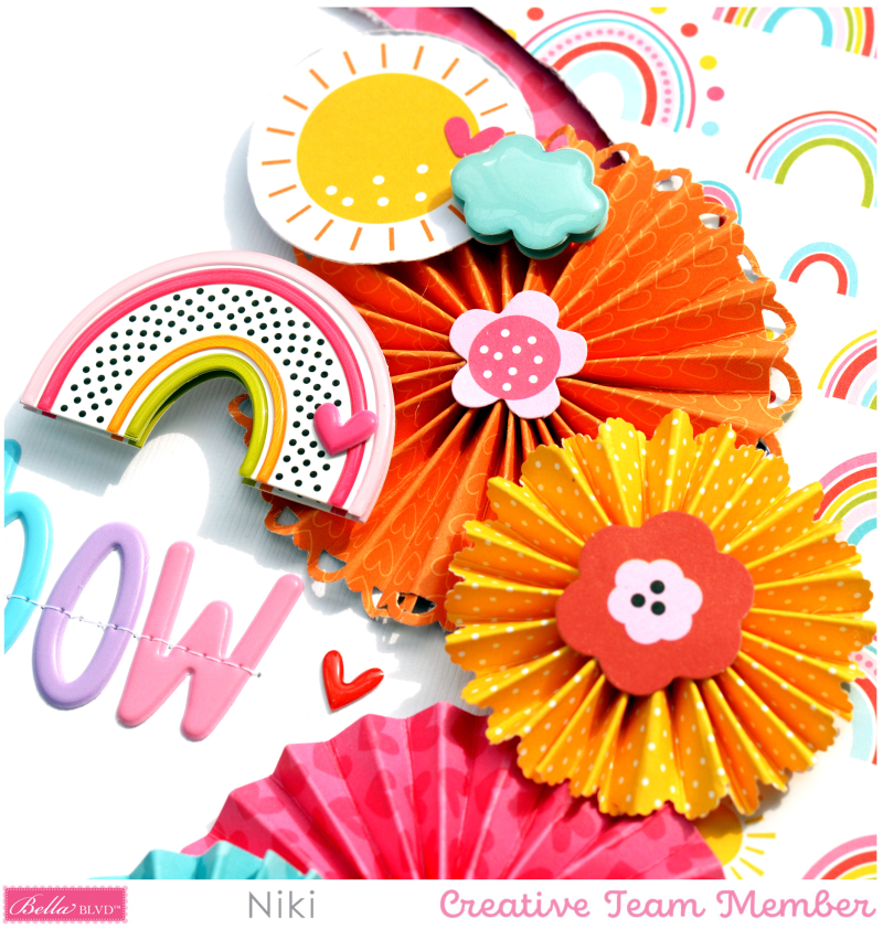 Be A Rainbow Bella Blvd You Are my Sunshine Niki Rowland Aria puffy alphabet Florence Scrapbooking layouts detail1