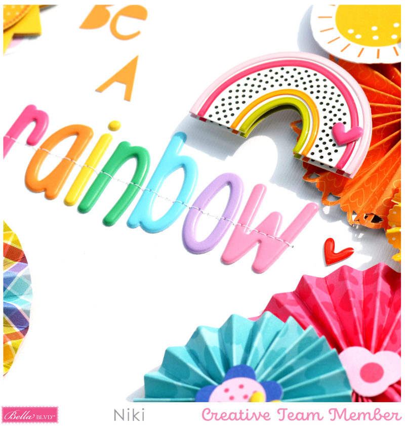 Be A Rainbow Bella Blvd You Are my Sunshine Niki Rowland Aria puffy alphabet Florence Scrapbooking layouts detail3
