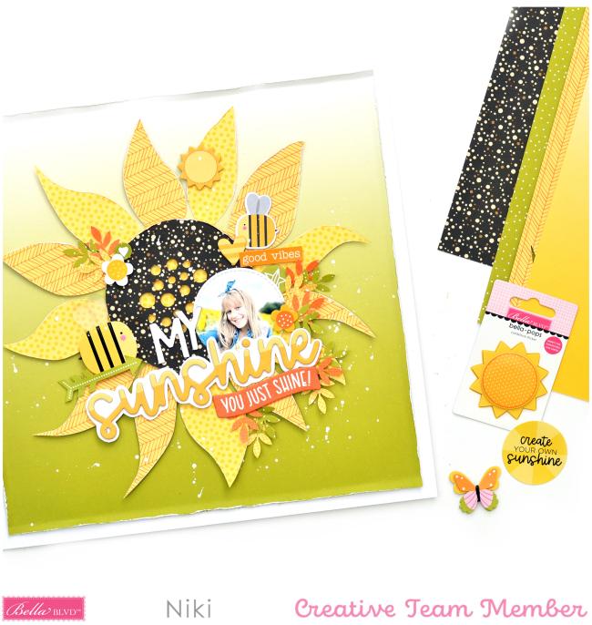 My Sunshine NIki Rowland Bella Blvd You Are my Sunshine cut files sunflower scrapbooking layouts autumn fall set